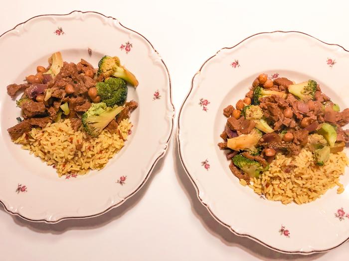 broccoli, seitan, chickpea bowl with rice