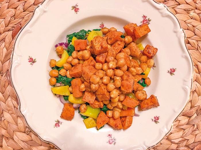 vegan zero waste spinazie, zoete aardappel, kikkererwten